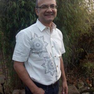organic shirt with preeti flower