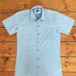 organic pale blue shirt